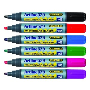 Artline, 579, Whiteboard Markers, Assorted Colours, 6 Pack